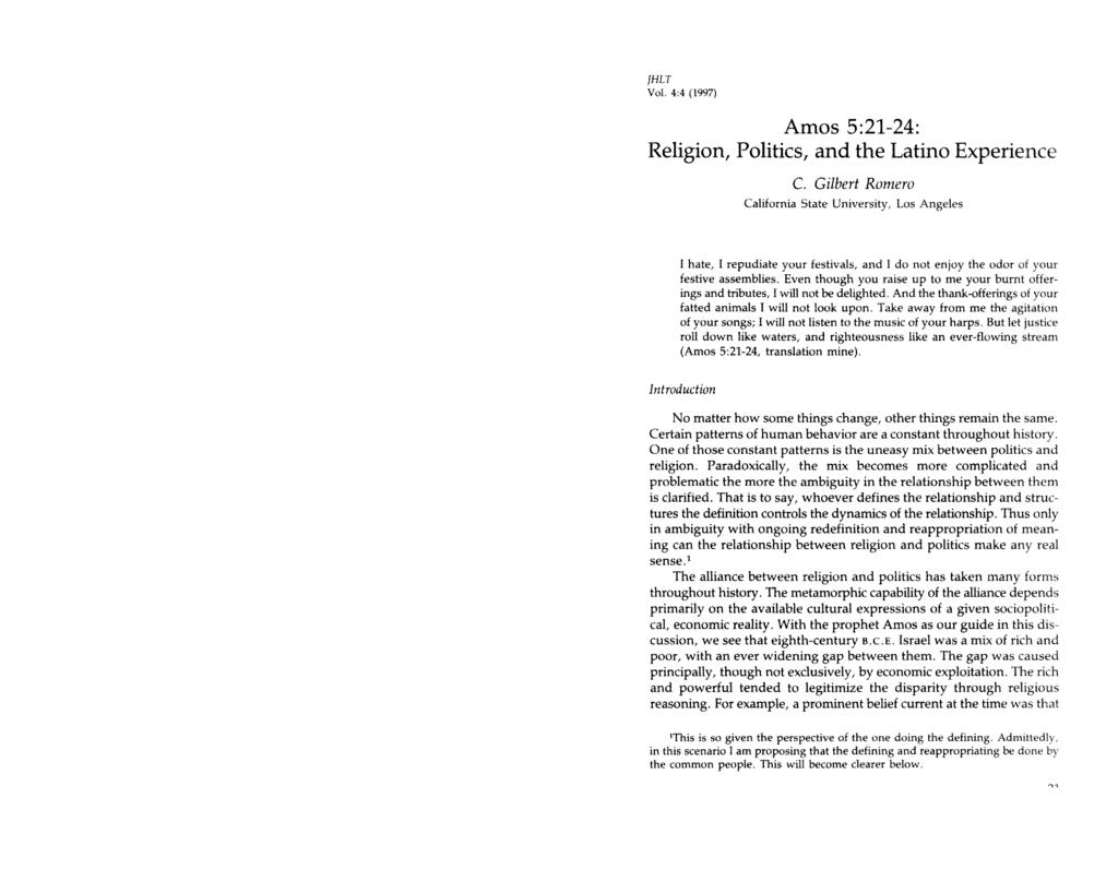[HLT Vol, 4:4 (1997) Amos 521424: Religion, Politics, nd the Ltino Experience C.