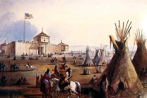 Fort Laramie around 1850. At Fort Hall the party split again. Several families followed the mountain men s advice and followed the trail. They lived to get to California.