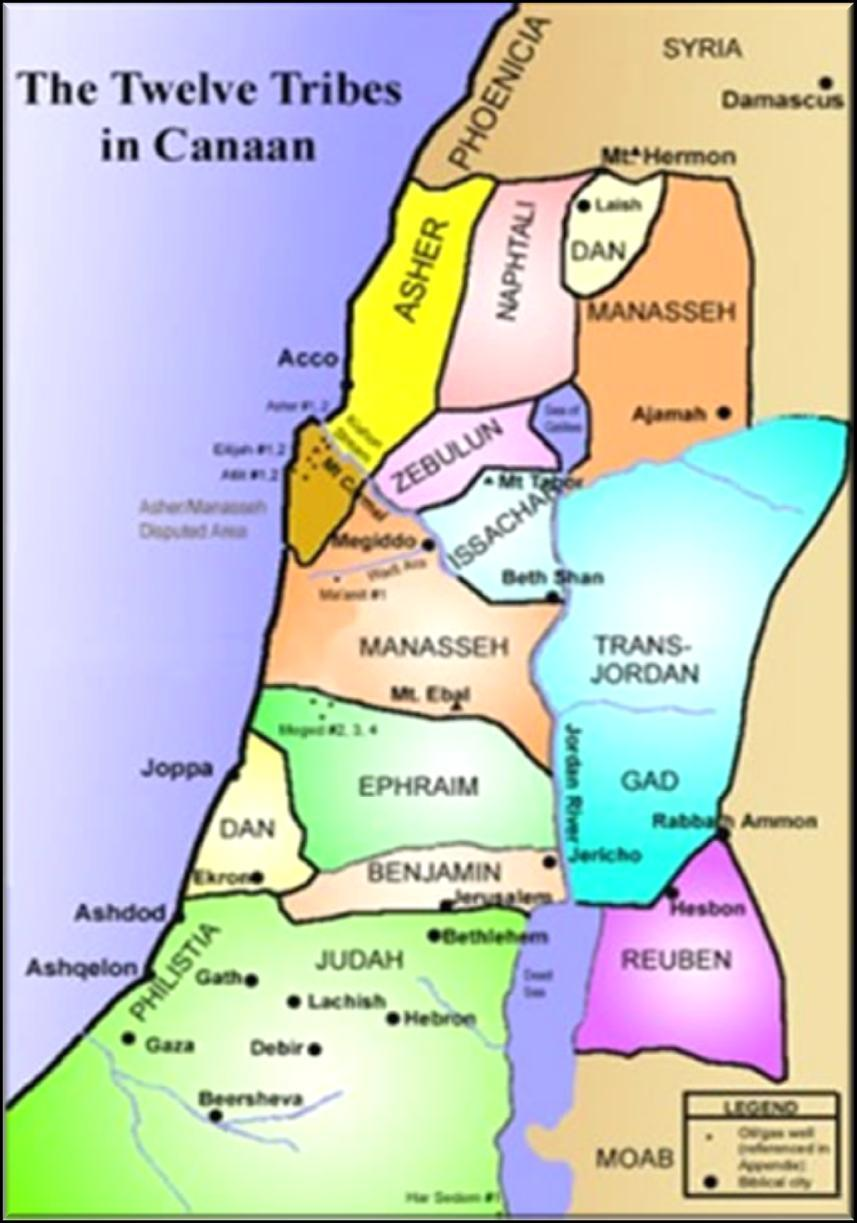The 12 Tribes of Israel Each tribe was given a piece of land and was responsible for conquering that section of land. After the time of Joshua the tribes were led by leaders known as judges.