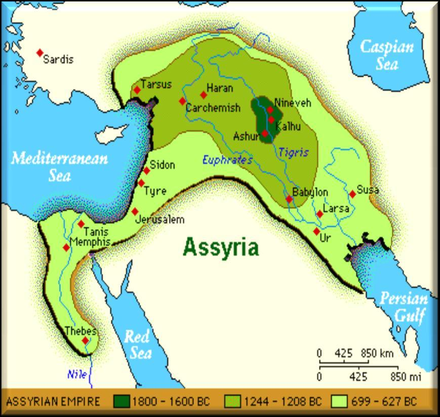 The Assyrians By 650 B.C. the Assyrians controlled an empire stretching from the Persian Gulf to Egypt and into Asia Minor.