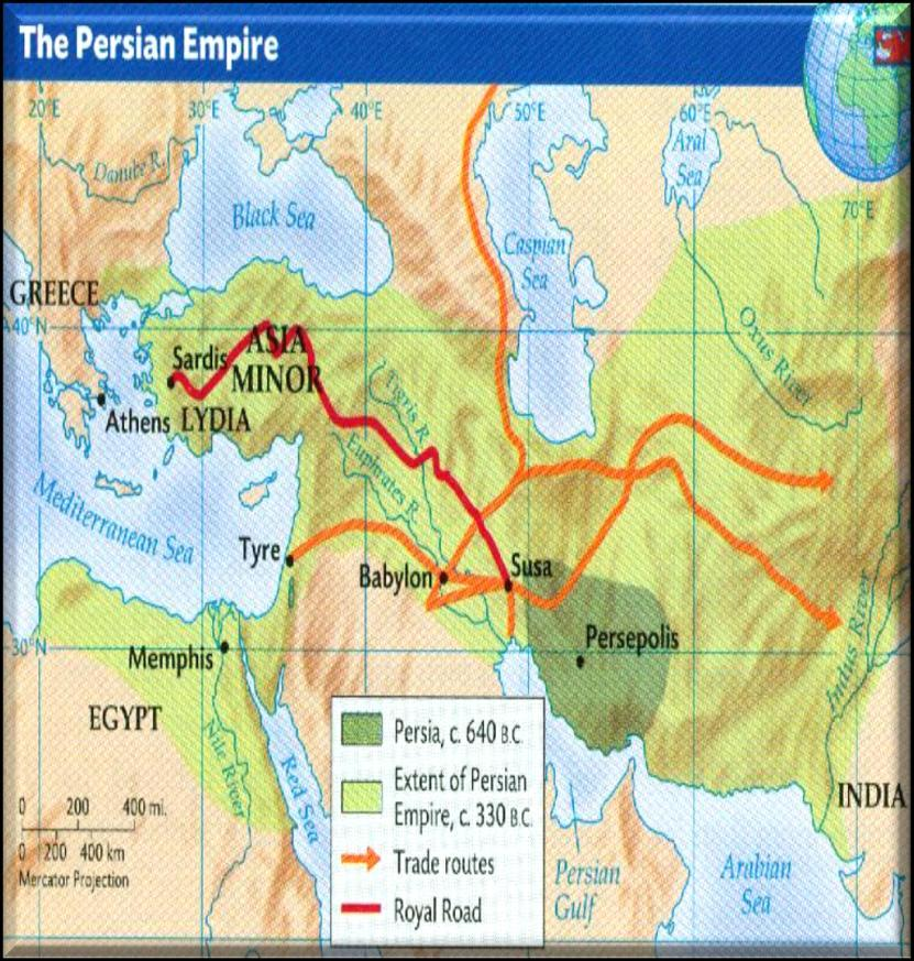 The Persians Darius I brought artisans from many of his conquered lands to build his capital at Persepolis. Roads were built to encourage trade as well as ease the movement of troops.