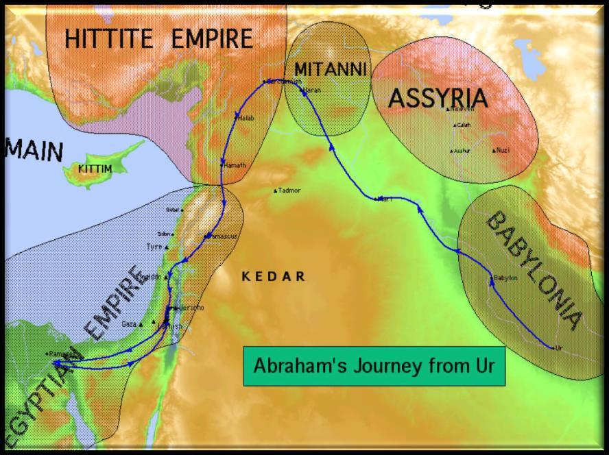 Abraham, the father of the Hebrew nation, left the Mesopotamian city of Ur with his wife (Sarai), father (Terah) and nephew (Lot) and would eventually settle in Haran.