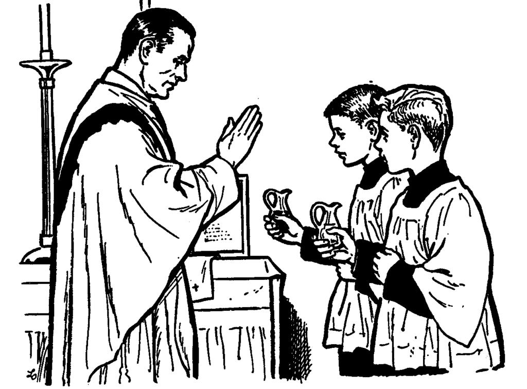 - At the foot of Altar steps, bow to the altar when the priest does. (except for server holding cross). - Then proceed to your assigned chair with the priest.