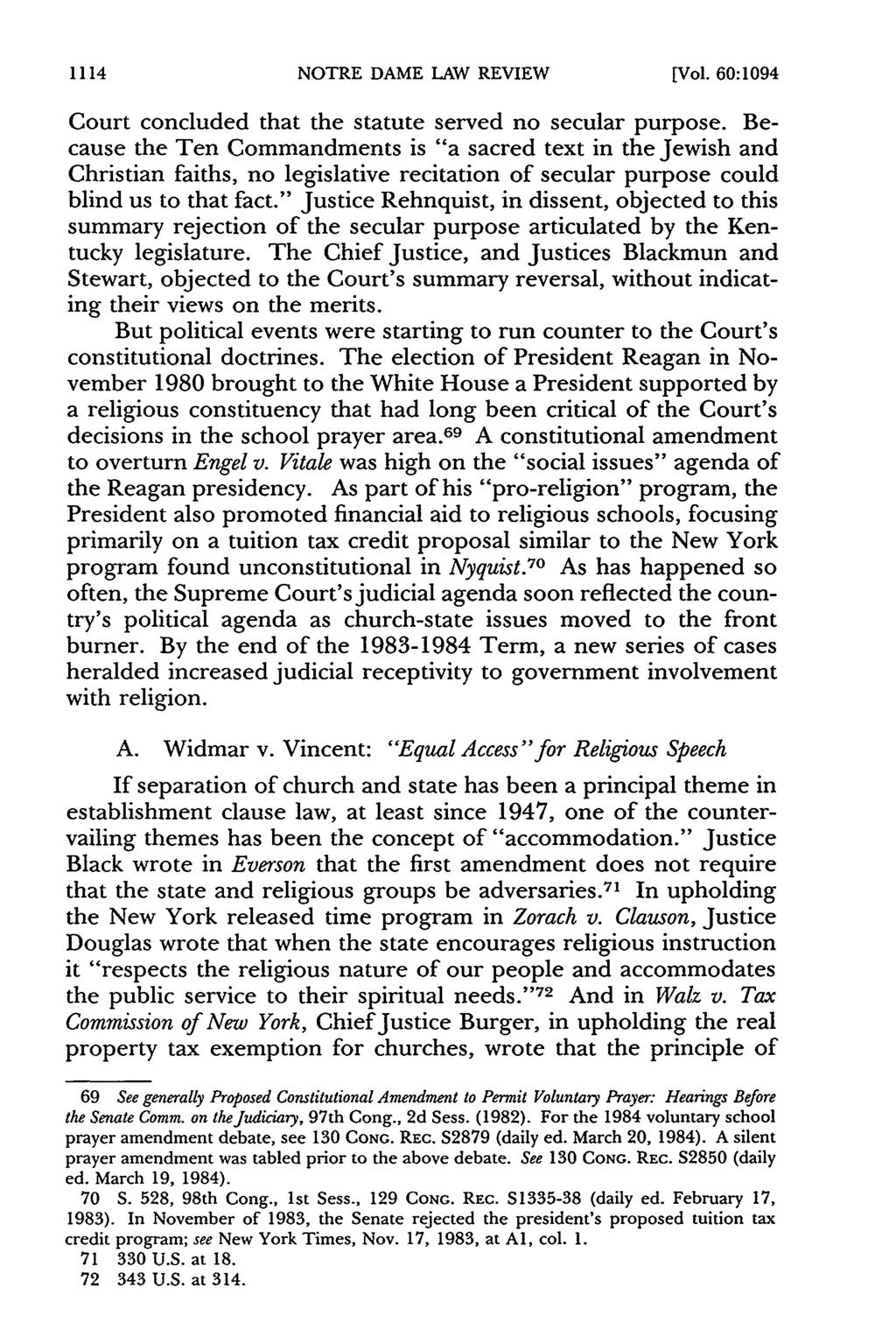 1114 NOTRE DAME LAW REVIEW [Vol. 60:1094 Court concluded that the statute served no secular purpose.