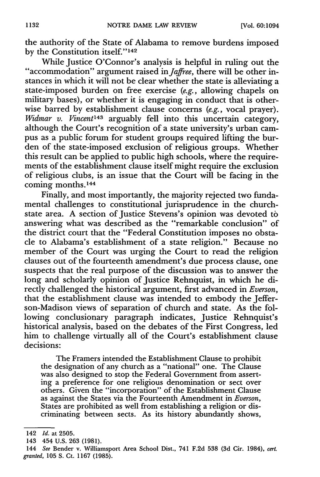 1132 NOTRE DAME LAW REVIEW [Vol. 60:1094 the authority of the State of Alabama to remove burdens imposed by the Constitution itself.