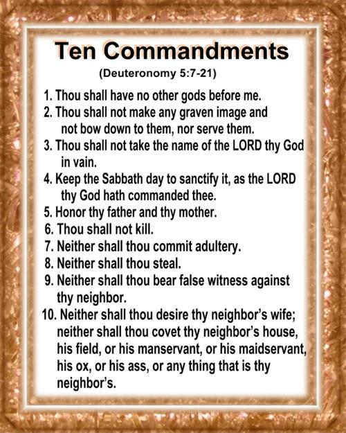 The Ten Commandments These commandments, sent down to Moses at Mount Sinai, served as an extensive law code that