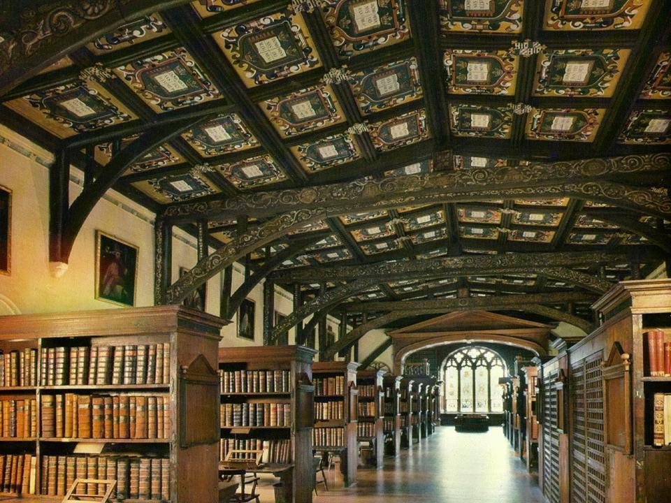 It is one of the five libraries in Britain, which acquires new published books by legal deposit - similar to the Bayerische Staatsbibliothek. Divinity School, Oxford.