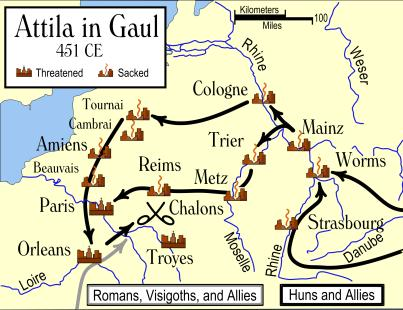Slide 16 The Huns From Asia, east of the Volga River Their migration pushed the Goths into the Roman empire, ca.