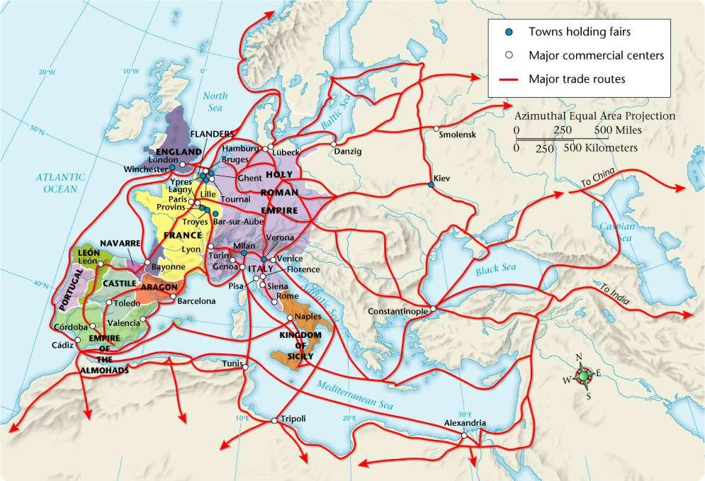 4 Trade in Medieval Europe, 1000 1300 Europe s growing population needed goods that were