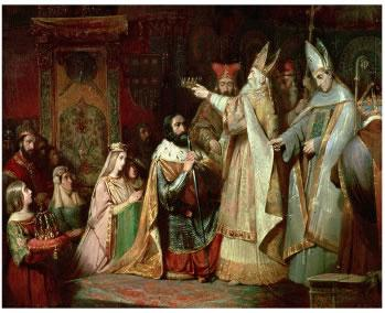 1 The Empire of Charlemagne Charlemagne helped Pope Leo III by crushing a rebellion in Rome. In gratitude, the pope crowned Charlemagne Emperor of the Romans.