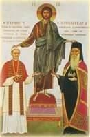 Friction b/w Pope in Rome and patriarch in Constantinople.