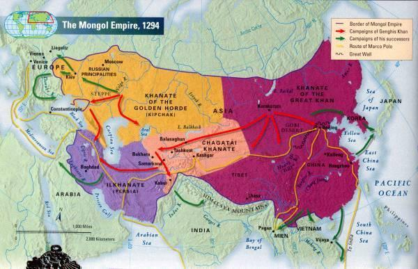 The West --Mongols invaded Hungary and Poland --1242 defeated Hungary and Poland armies **fear of Mongol