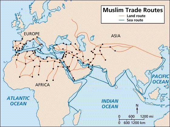 As the empire expanded, Muslims gained control of islands in the Mediterranean and of important trade routes.