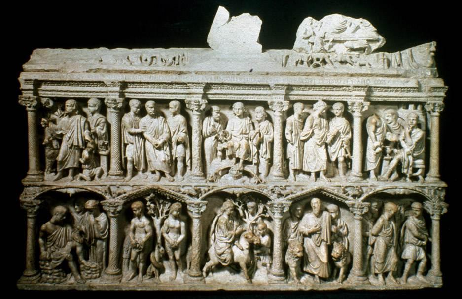 Early Christian Art Sarcophagus = Tomb Junius Bassus = Roman Prefect Sarcophagus of Junius Bassus, 359 C.E. (Vatican, Grottoes of St.