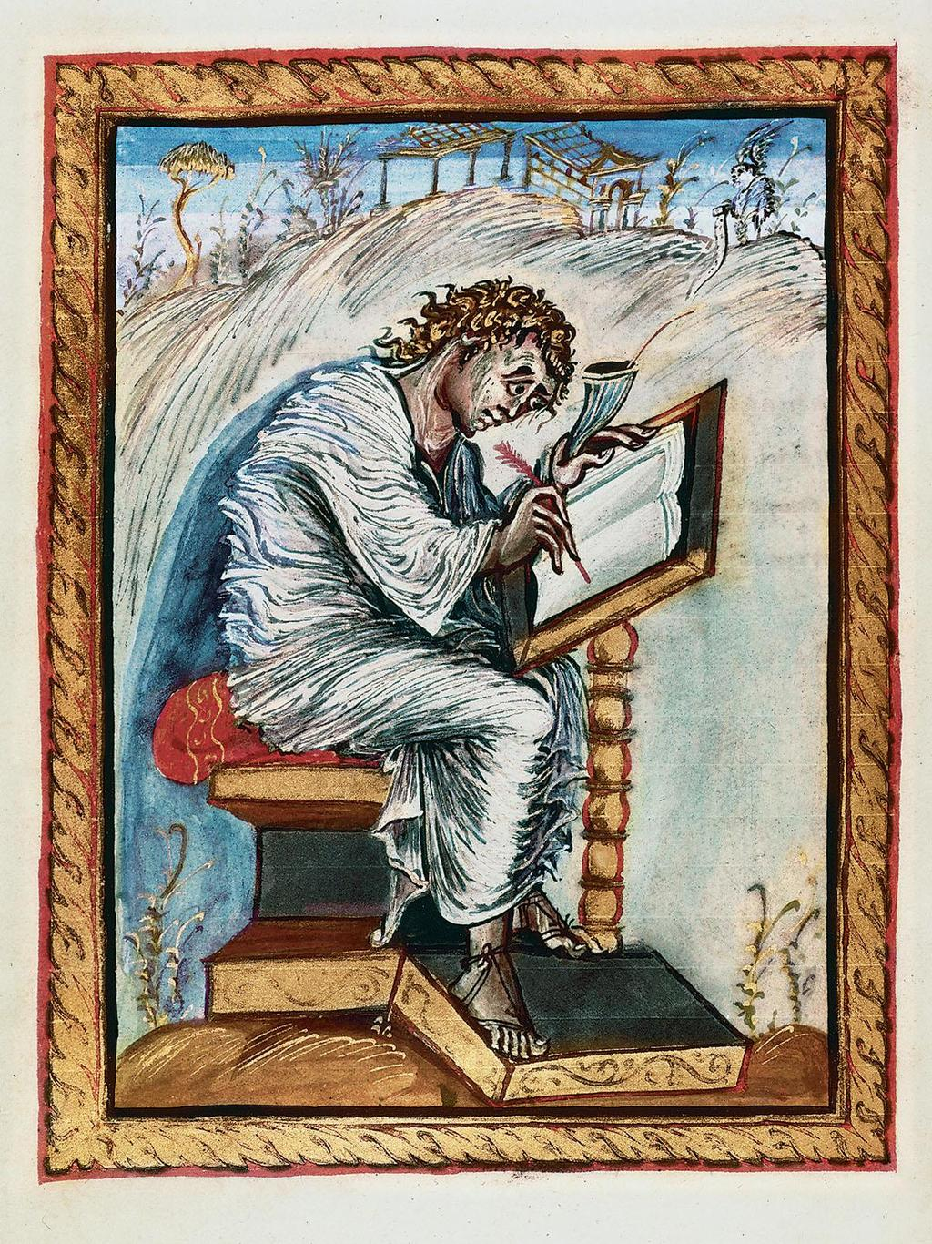 Carolingian Art St. Matthew from the Ebbo Gospel 1. What is depicted in this portrait? 2. How would you describe the painting technique in this piece of artwork? 3. What is a codex? 4.