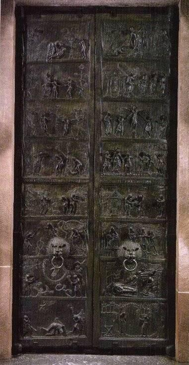 Ottonian Art Bronze Doors, Saint Michael s, Hidesheim, 1015 A.D. Bronze doors, Saint Michael's, Hildesheim 1. Who commissioned this work? Why? 2. What is depicted in this work? 3.
