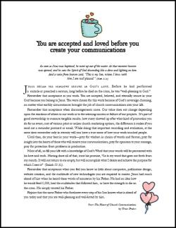 A devotion for church communicators How to use this: you can either print off the PDF and give it out or mail it as a PDF to church communicators.