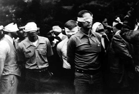 Iran Hostage Crisis In 1979, when Reza Shah was allowed to enter U.S. it caused an uproar in Iran. Iranian students went to U.S. embassy in Tehran and took 50 people hostage. They demanded that the U.