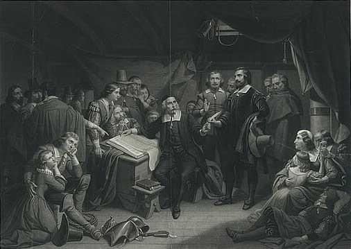 The Pilgrims signing the compact, onboard the Mayflower, engraving. c.1859.