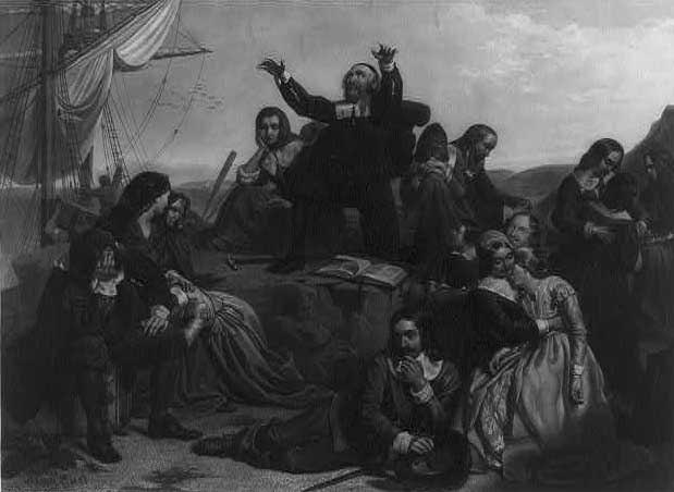 Landing of the Pilgrims. Engraving by J. Andrews, 1869, after P. F. Rothermel.