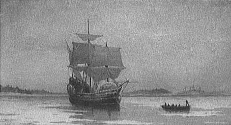 John Burnet, artist. Prints and Photographs Division, Library of Congress. The Mayflower in Plymouth Harbor. 1882.