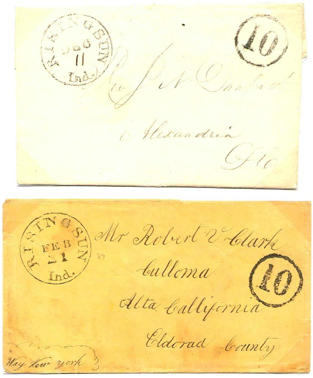 First CDS - Ten Cent Circle / /,,. I ( /, /r, I { December 11, 1849. J Ten cents sent collect, less than 1/2 ounce traveling over 300 miles. February 21, 184x.
