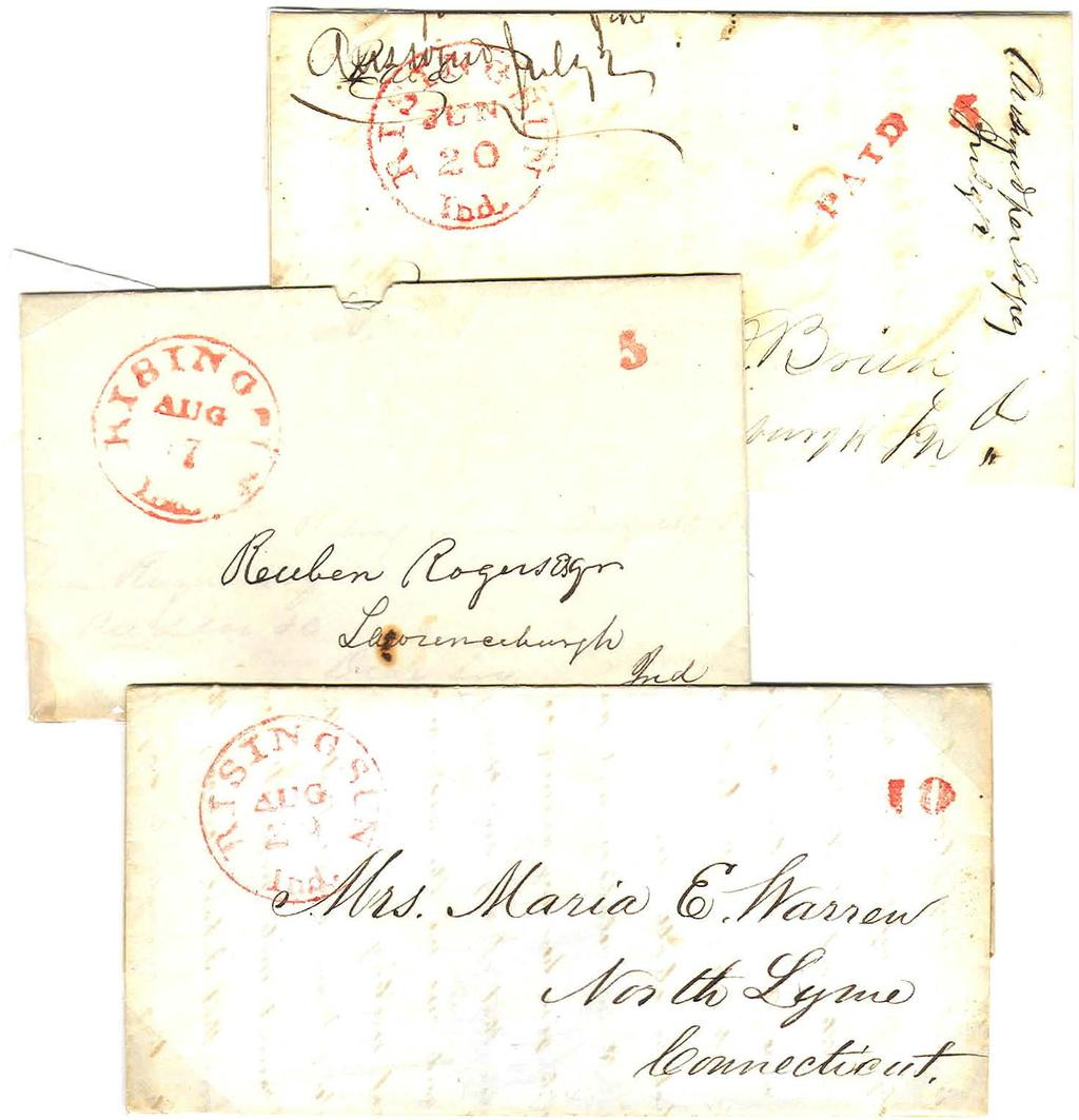 First CDS - Small Franking Devices, Red Ink.,f { June 20. 1846. Five cent prepaid by sender. up to 1 /2 ounce traveling less than 300 miles.