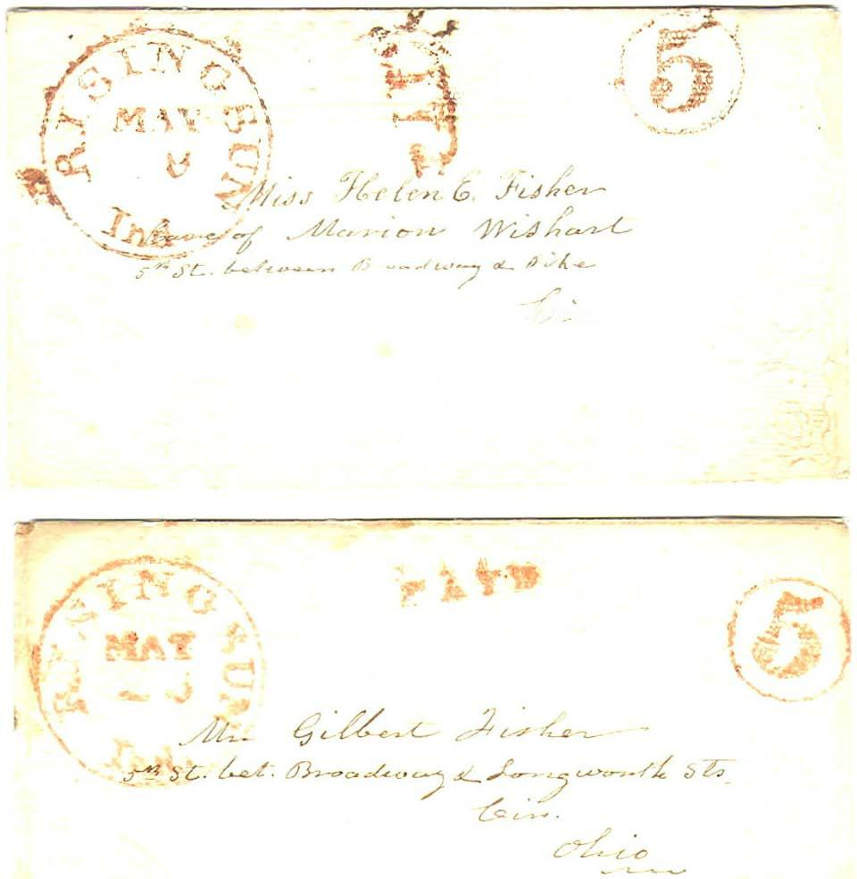 First CDS - Five Cent Circle, Red Ink, ' I -, I v--1 May 9, 1851. Five cents prepaid by sender, up to 1/2 ounce traveling less than 300 miles.
