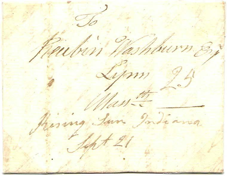 Territorial Stampless Folded Letter I September 21, 1816. Twenty-five cent rate appropriate for one sheet carried over 400 miles. The only reported territorial cover from Rising Sun.