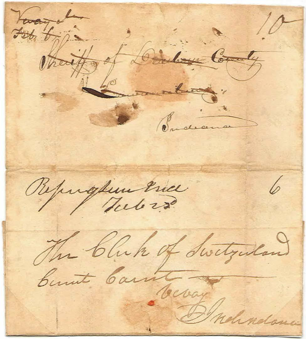 Manuscript - Turned Folded Letter February 6, 1830 from Vevay. February 22, 1830 from Rising Sun. This folded letter was first mailed from Vevay to the Sheriff of Dearborn County at Lawrenceburg.