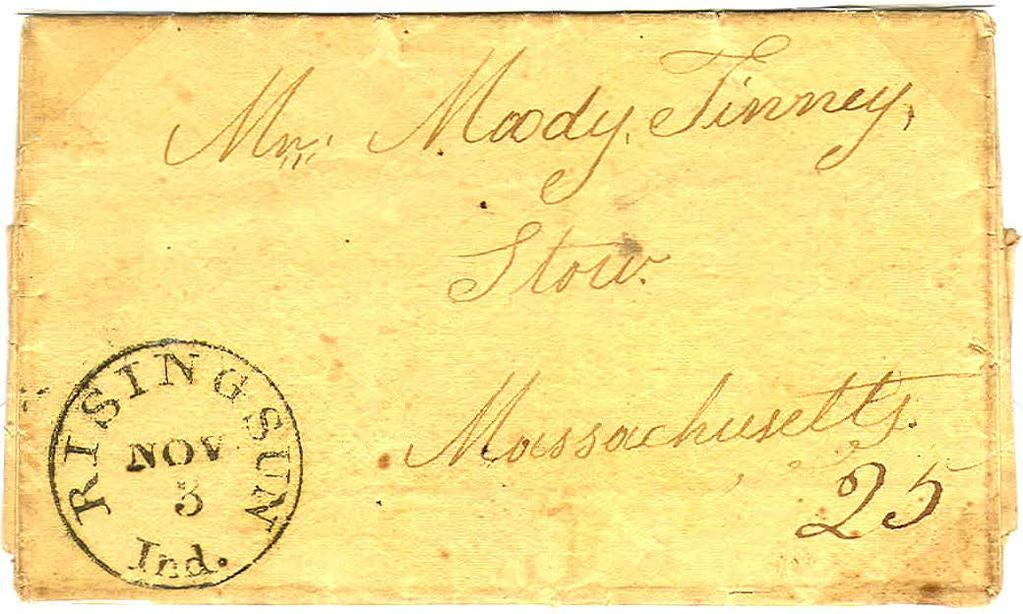 "First CDS - Manuscript Franking ( November 3, 1838. Twenty-five cent rate for one sheet traveling over 400 miles. Folded letter from the Baker Collection showing the perils of steamboat travel. ""... E."
