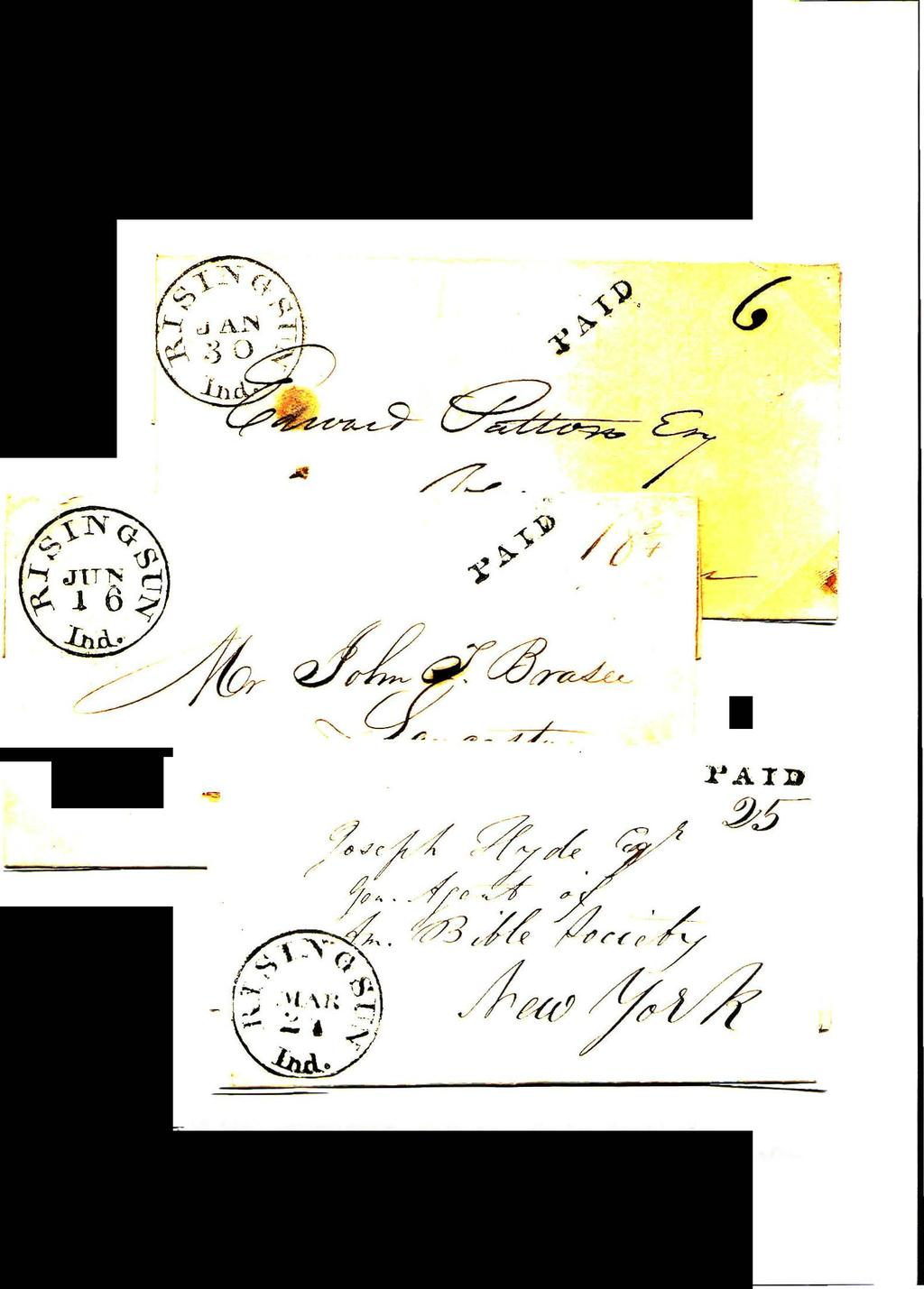 "First CDS - Paid Handstamp i jan:.12:!_ 30. 1838. Six cent rare fo:r one sb.ee:: eling less than 30 miles.. ""--..::::= 6. 1838. and 3, cen."