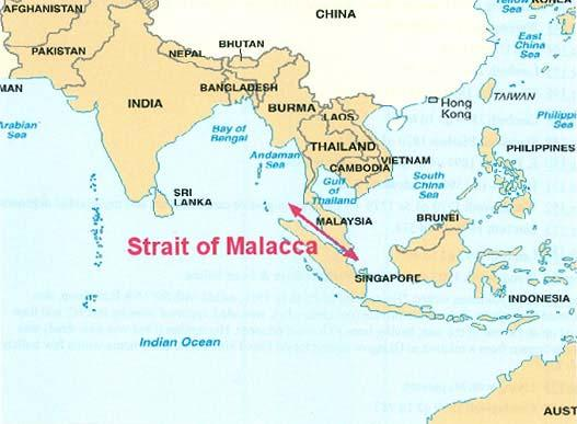 Between Indonesia and SE Asia is the straight of Malacca.
