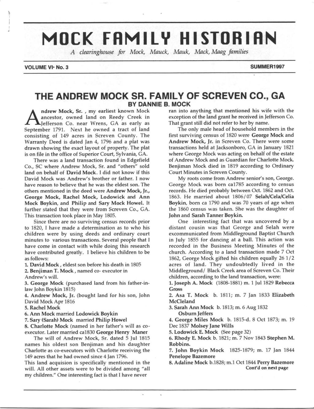 \ I I I MOCK FRMILY HISTOBIRN A cleringhoiuse fir Mocfu,Muck, Muk, Mck,IuIg fmilies VOLUME Vl. No.3 SUMMER1997 THE ANDREW MOCK SR. FAMILY OF SCREVEN CO., GA BY DANNIE B. MOCK A ndrew Mock, Sr.
