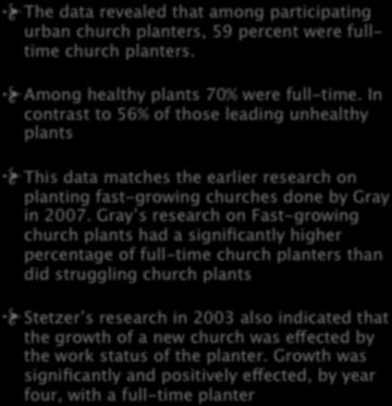 9. WORK STATUS The data revealed that among participating urban church planters, 59 percent were fulltime church