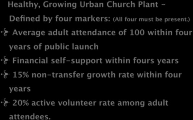 DEFINITION Healthy, Growing Urban Church Plant - Defined by four markers: (All four must be present.