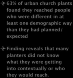 2. PREPARATION 63% of urban church plants found they reached people who were different in