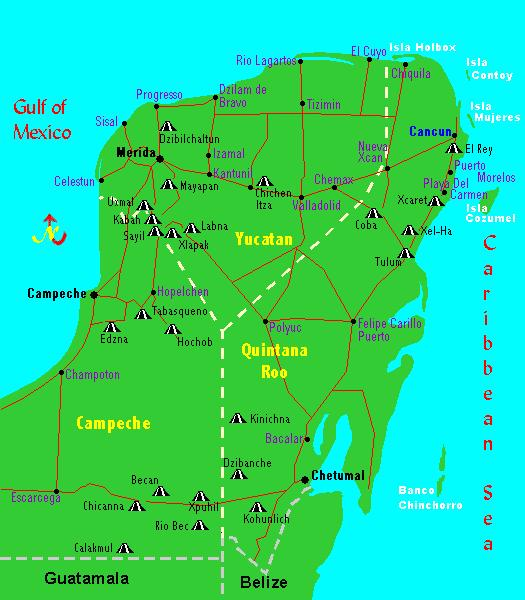 THE SITES Palenque is not held on the map above as it is to the left of Calakmul and off the map in the state of Chiapas, which this map does not show. We begin our journey in Palenque.