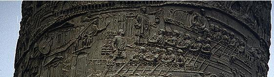 The frieze shows Augustus and Marcus Agrippa (on the left, with his head covered) and other