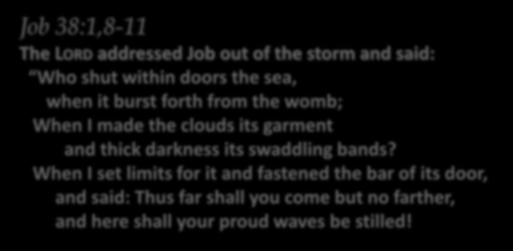 Song READING Psalm Gospel Homily/Reflection Minor Exorcism Blessing Song Job 38:1,8-11 The LORD addressed Job out of the storm and said: Who shut within doors the sea, when it burst forth from the