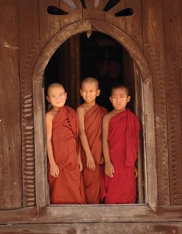 Lesson 16 - Learning About World Religions: Buddhism Section 1 - Introduction These young Buddhist monks stand in the large window of a Buddhist monastery in the nation of Myanmar, in Southeast Asia.