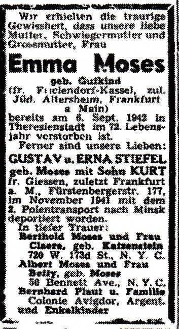 Emma Gutkind Moses asked already in 1934 for a passport for emigration. But it lasted till 04 Oct 1937, before she could leave Frielendorf with her son Albert s family to Frankfurt/Main.
