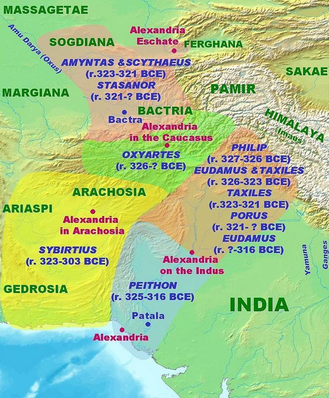 in 323 BC, Macedonian Satraps Chandragupta Maurya began conquering the