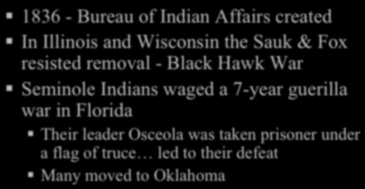 JACKSON S PRESIDENCY Native Americans! 1836 - Bureau of Indian Affairs created! In Illinois and Wisconsin the Sauk & Fox resisted removal - Black Hawk War!