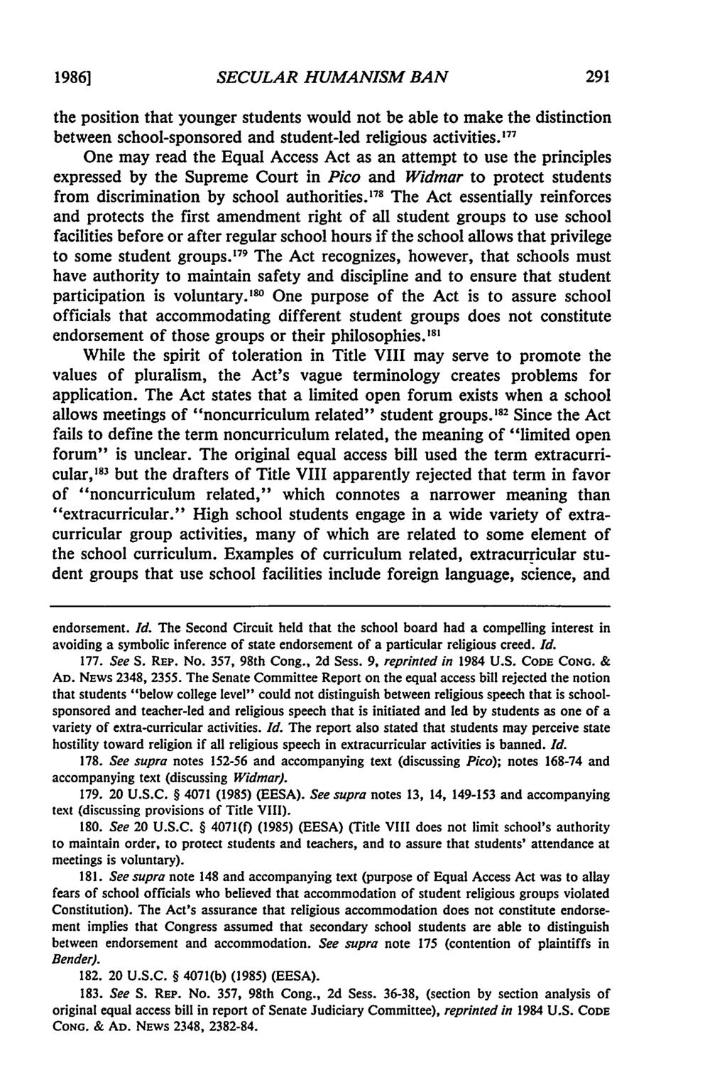 1986] SECULAR HUMANISM BAN the position that younger students would not be able to make the distinction between school-sponsored and student-led religious activities.