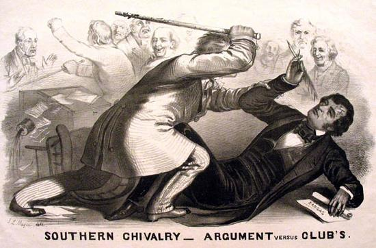POLITICAL CARTOON SHOWING SENATOR CHARLES SUMNER OF MASSACHUSETTS
