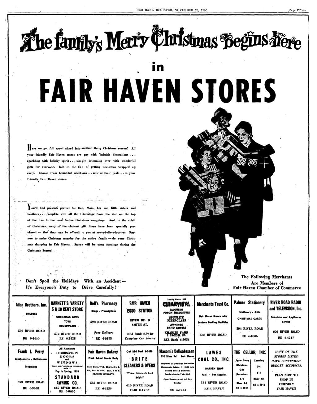 RED BANK REGISTER NOVEMBER 23 1955Page Fifteen In FAIR HAVEN STORES Ffere