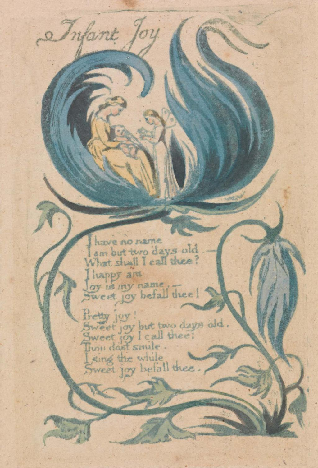 Songs of Innocence and of Experience, Plate 28, Infant Joy (Bentley 25), 1789