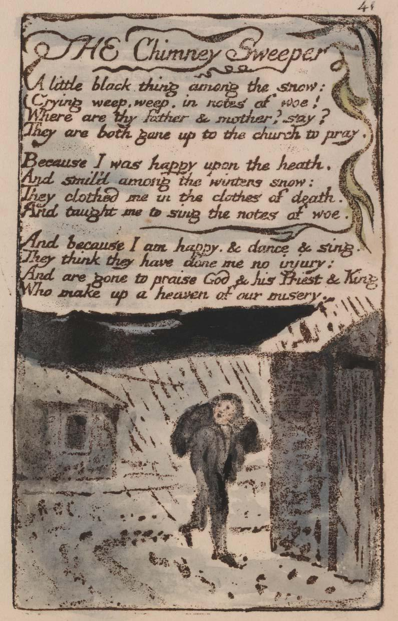 "Songs of Innocence and of Experience, Plate 41, ""The Chimney Sweeper"" (Bentley 37), 1789 to 1794"