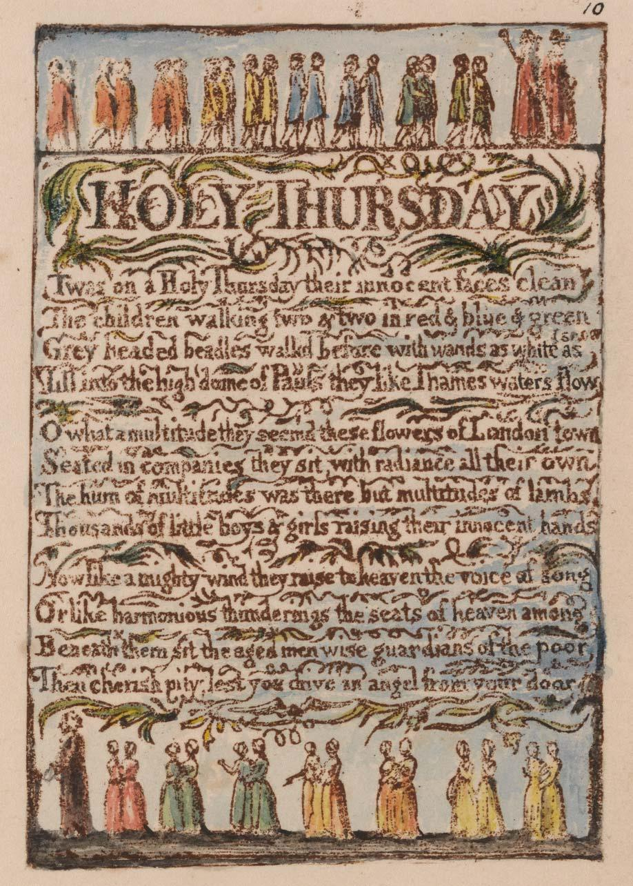 "Songs of Innocence and of Experience, Plate 10, ""Holy Thursday"" (Bentley 19), 1789 to 1794"